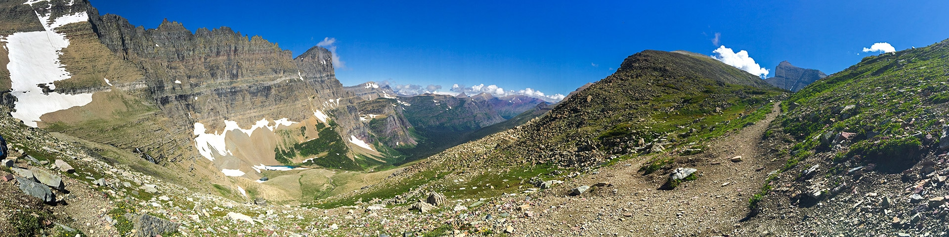 Panorama from the Piegan Pass hike in Glacier National Park, Montana