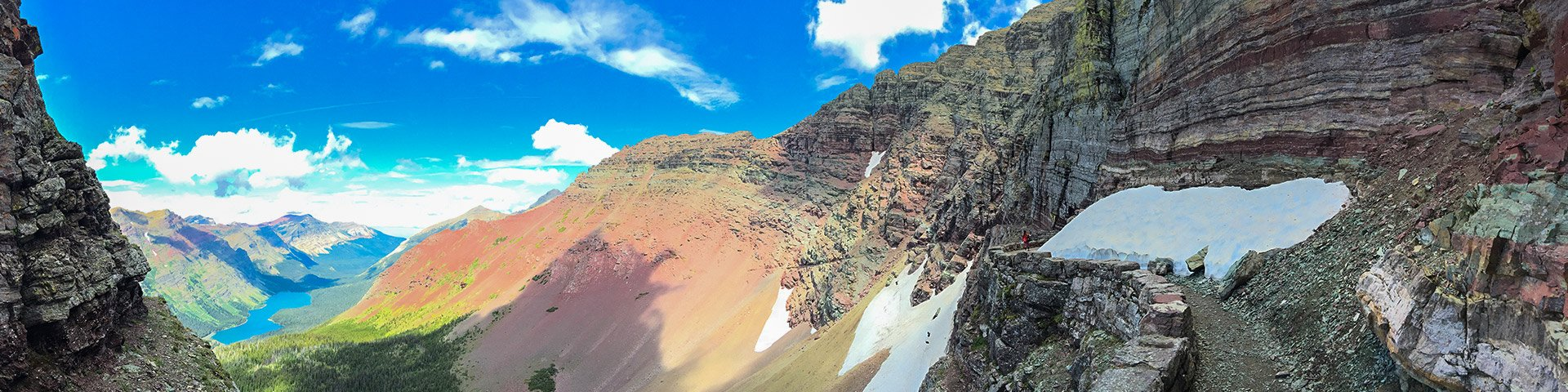 Panorama from the Ptarmigan Tunnel hike in Glacier National Park, Montana