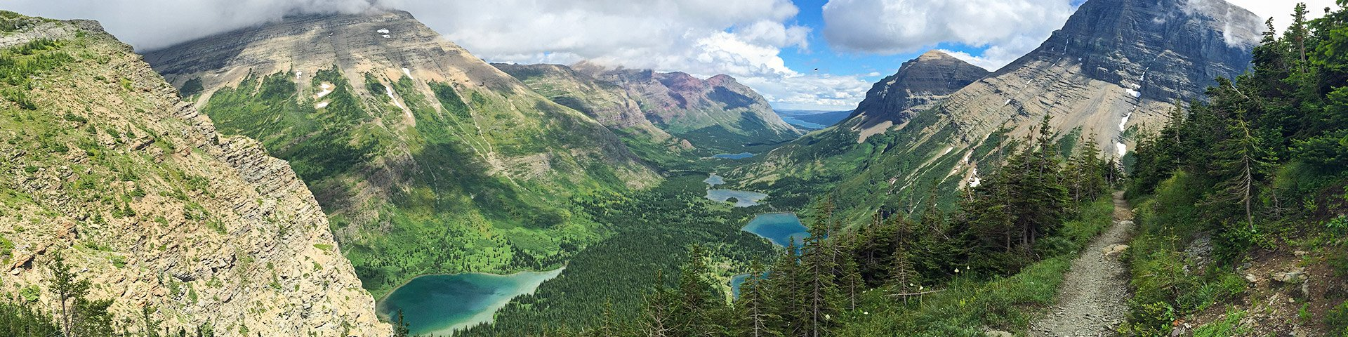 Panoramic views from the Swiftcurrent Pass hike in Glacier National Park, Montana