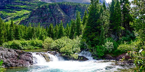 Scenic views from the Swiftcurrent Creek and the Lakes hike in Glacier National Park, Montana