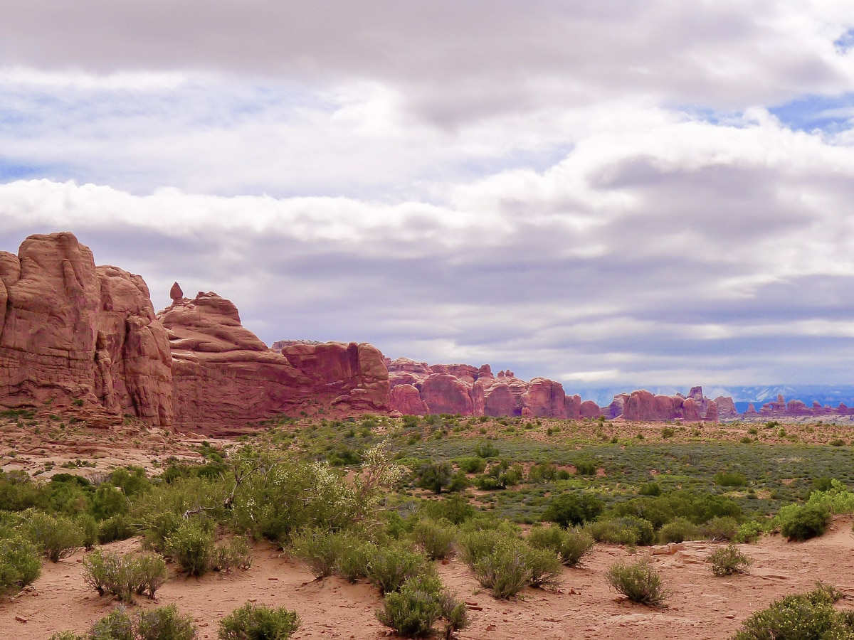 View along the valley on Balanced Rock hike in Arches National Park, Utah