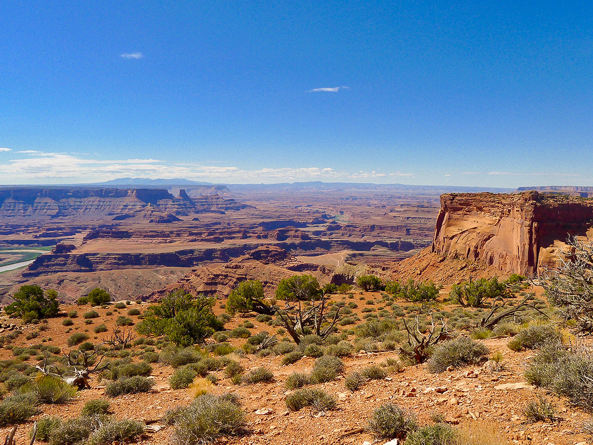 Colorado River view from above on Dead Horse Point Loop hike near Moab, Utah