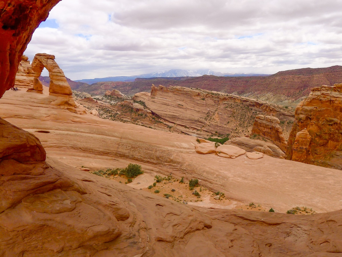 Beautiful rock formations on Delicate Arch hike in Arches National Park, Utah