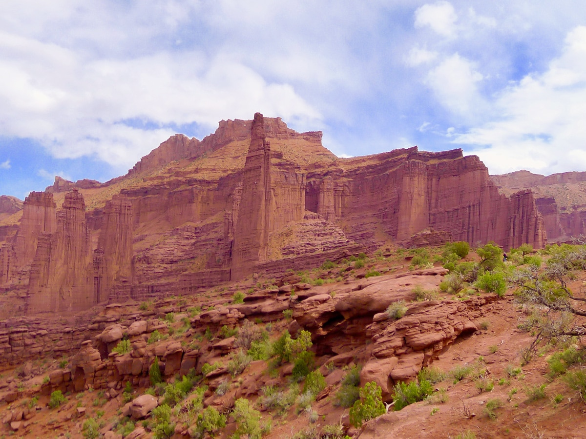 View of towers on Fisher Towers hike near Moab, Utah