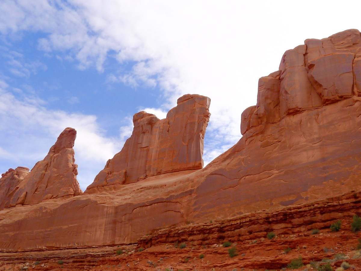 Great scenery on Park Avenue hike in Arches National Park, Utah