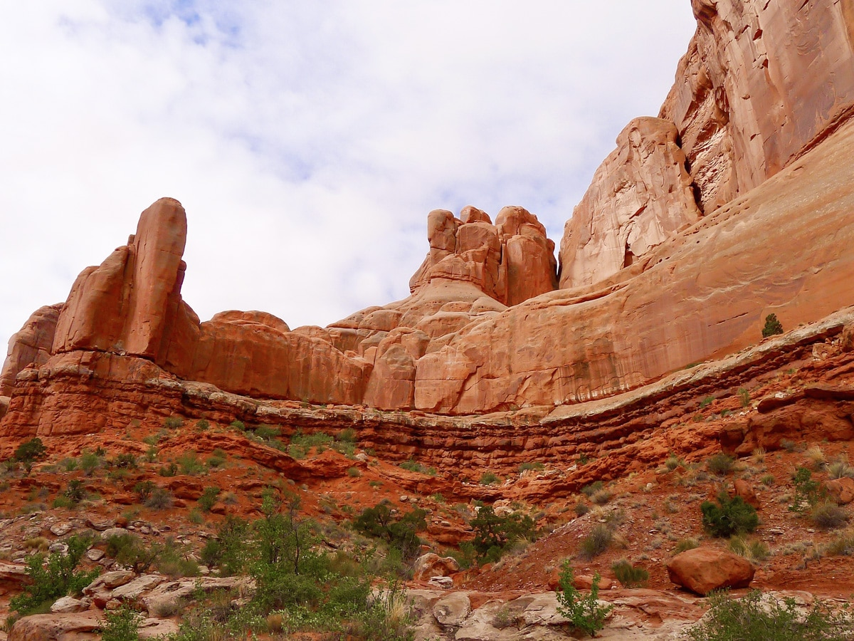 Amazing canyon walls surrounding Park Avenue hike in Arches National Park, Utah