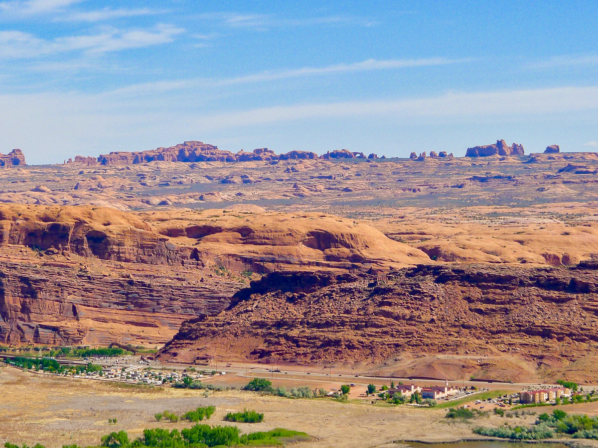 Arches National Park view from Dead Horse Point Loop hike near Moab, Utah