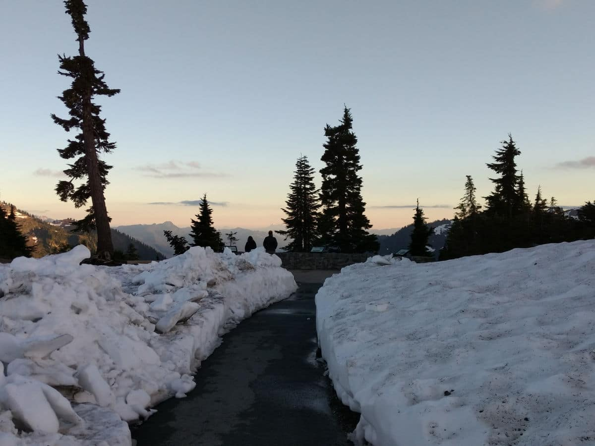 Snow at the beginning of the trail on the Artist Ridge hike near Mt Baker, Washington