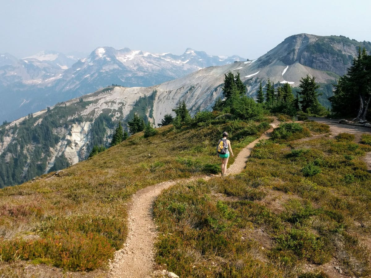 Descending views on the Hannegan Pass and Peak Hike near Mt Baker, Washington