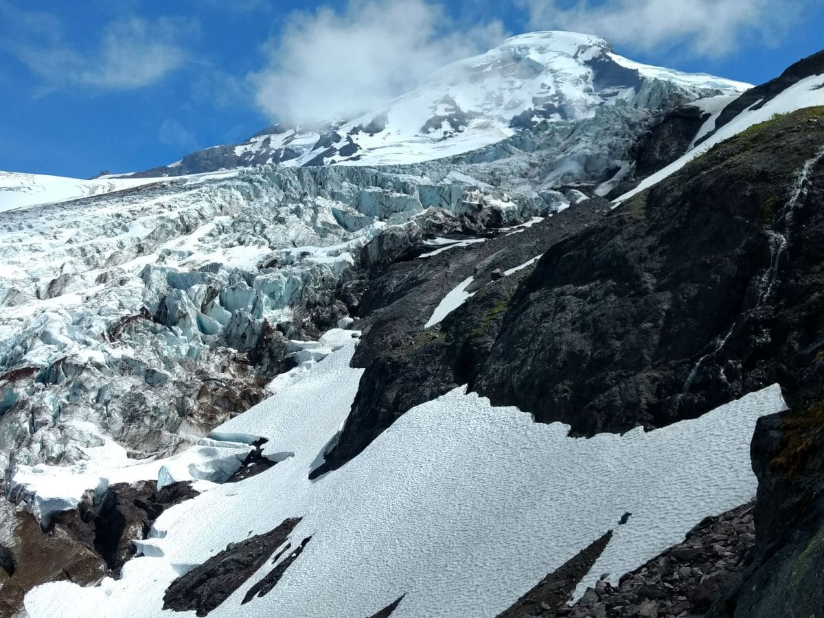Mount Baker and Lower Coleman Icefall on the Heliotrope Ridge Hike in Mt Baker, Washington