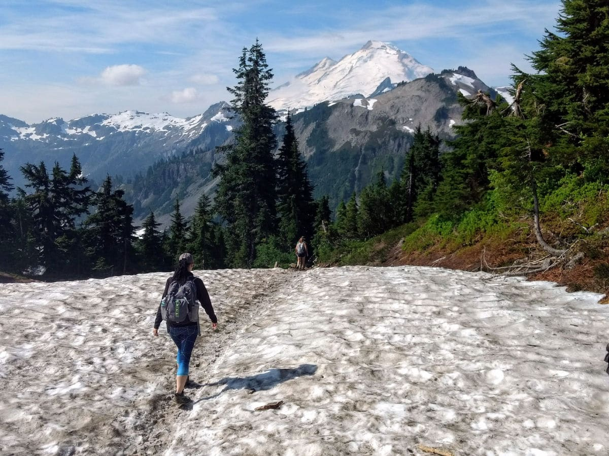 Setting out from Artist Point on the Yellow Ptarmigan Ridge Hike near Mt Baker, Washington