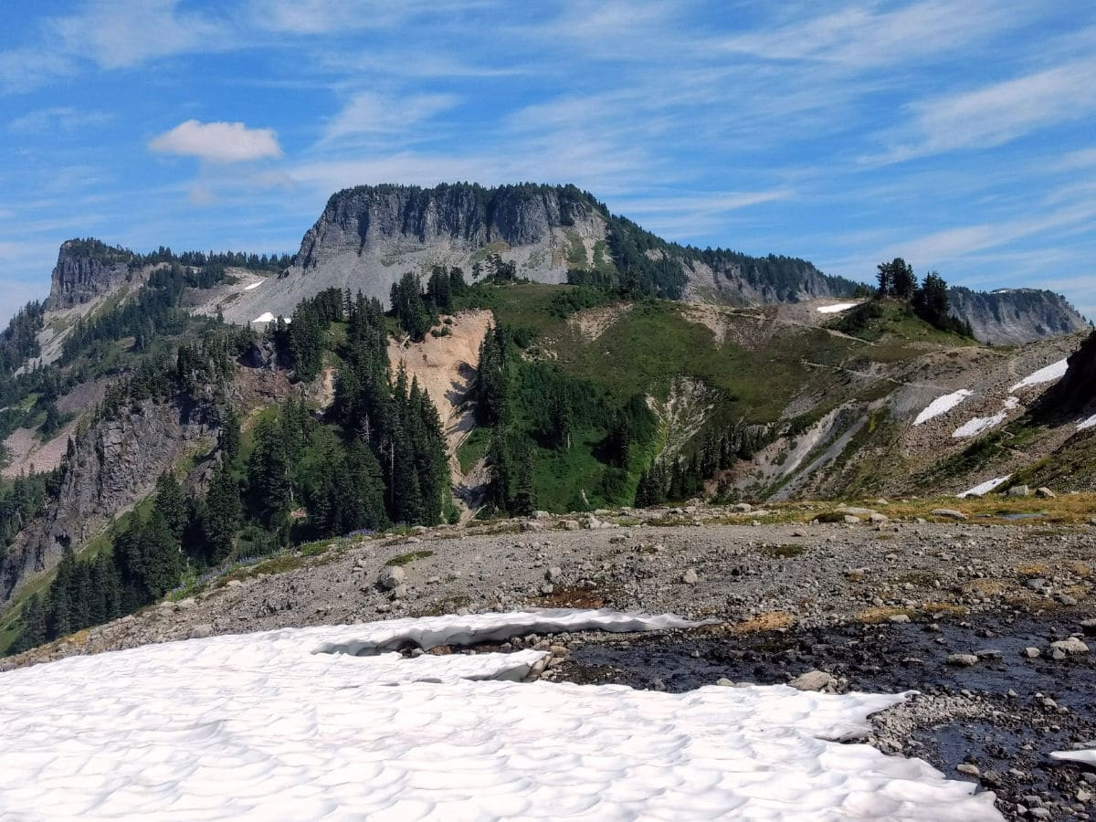 Looking back at Table Mountain on the Yellow Ptarmigan Ridge Hike near Mt Baker, Washington