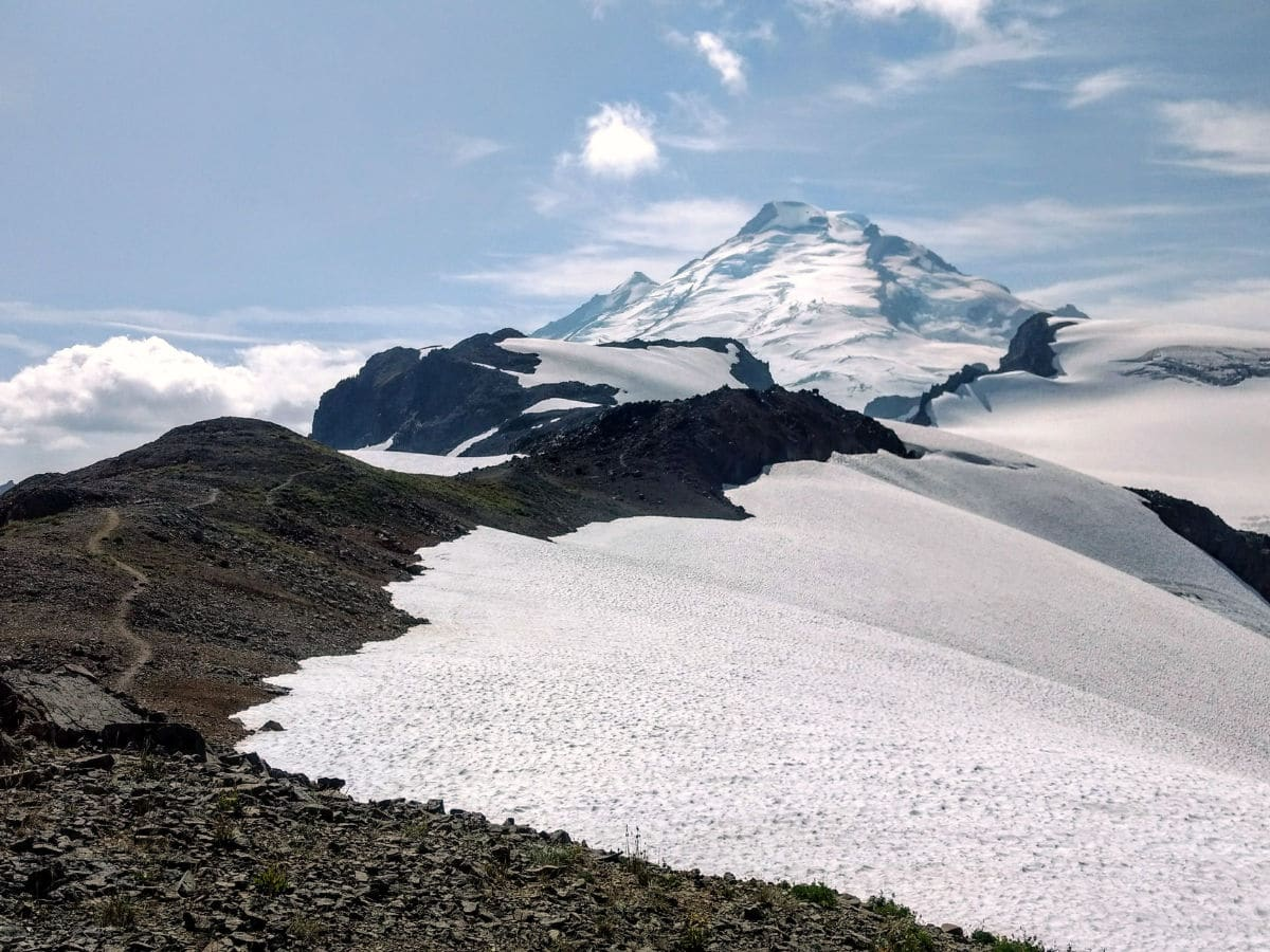 Good turnaround point on the Yellow Ptarmigan Ridge Hike near Mt Baker, Washington