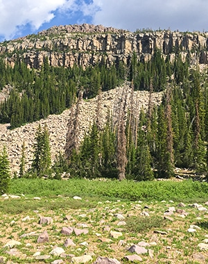 Scenery from the Naturalist Basin hike in the Uinta Mountains, Utah