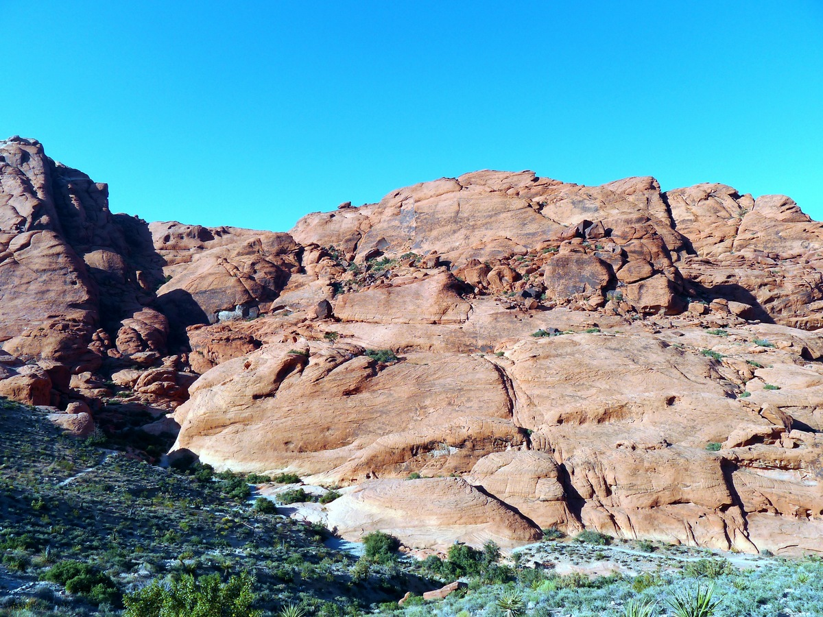 View from the trailhead on the Calico Hills Loop Hike in Red Rock Canyon near Las Vegas