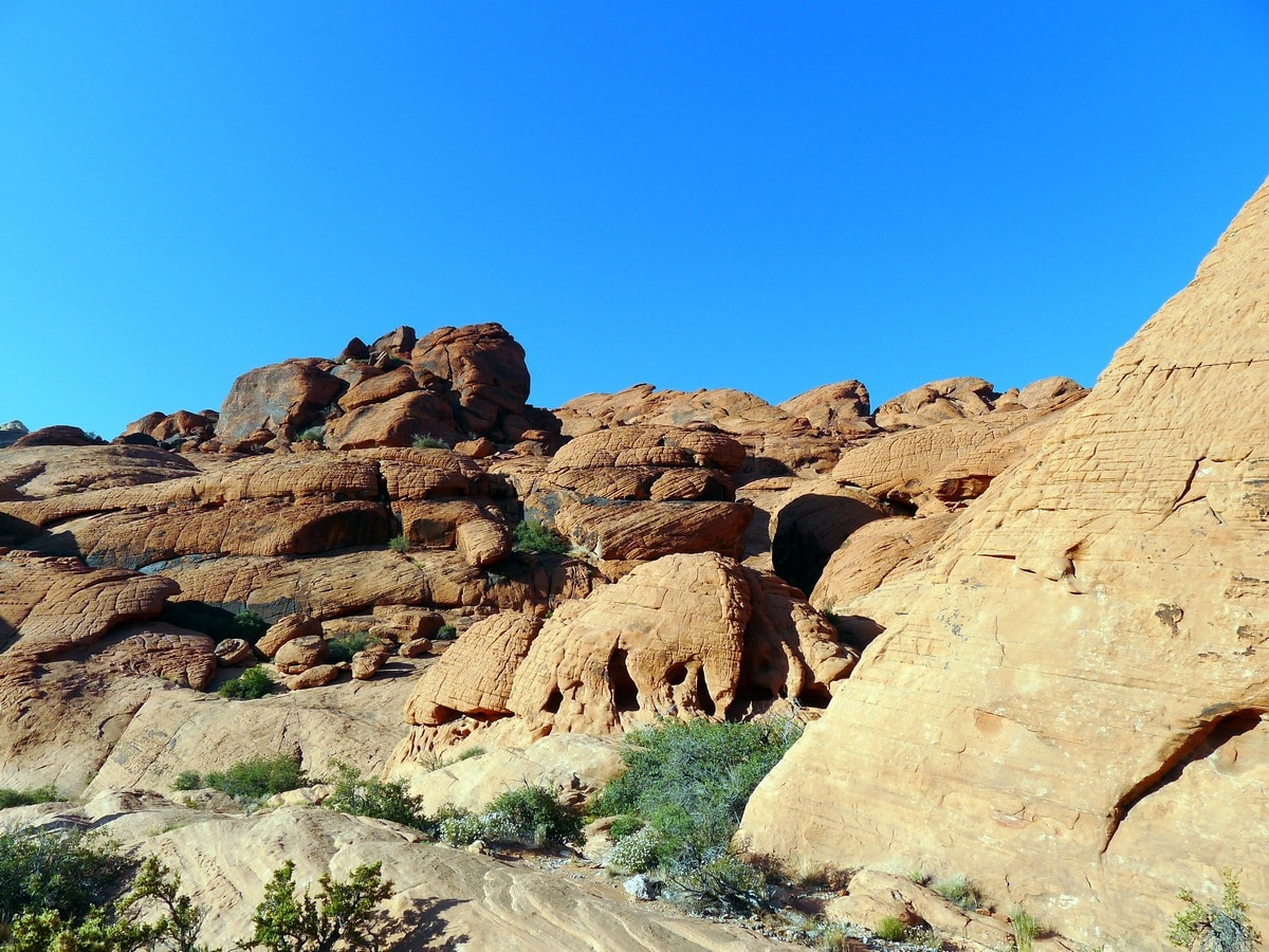 Gorgeous hills on the Calico Hills Loop Hike in Red Rock Canyon near Las Vegas