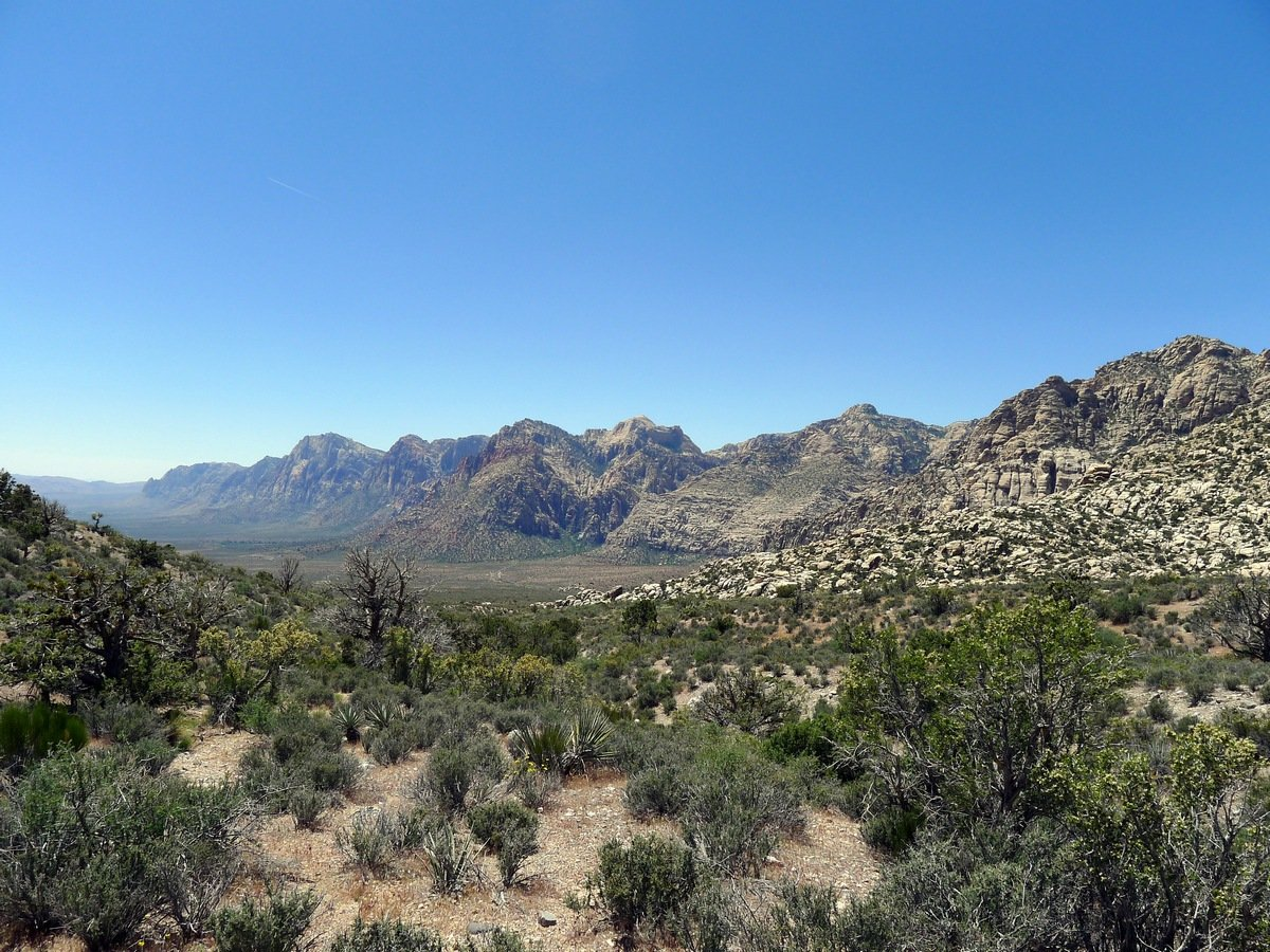 Looking back along the trail on the White Rock Trail Hike in Red Rock Canyon near Las Vegas