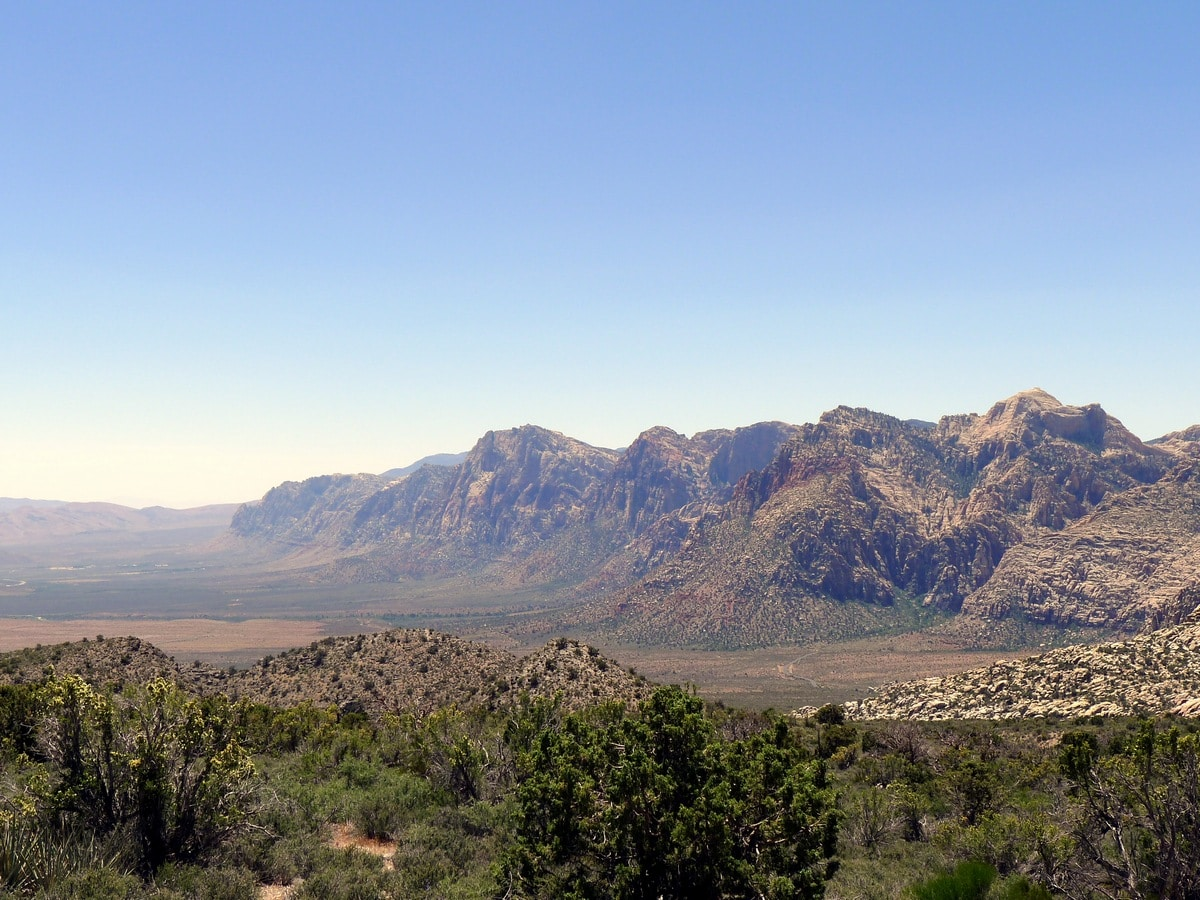 Stunning view of the mountains from the White Rock Trail Hike in Red Rock Canyon near Las Vegas