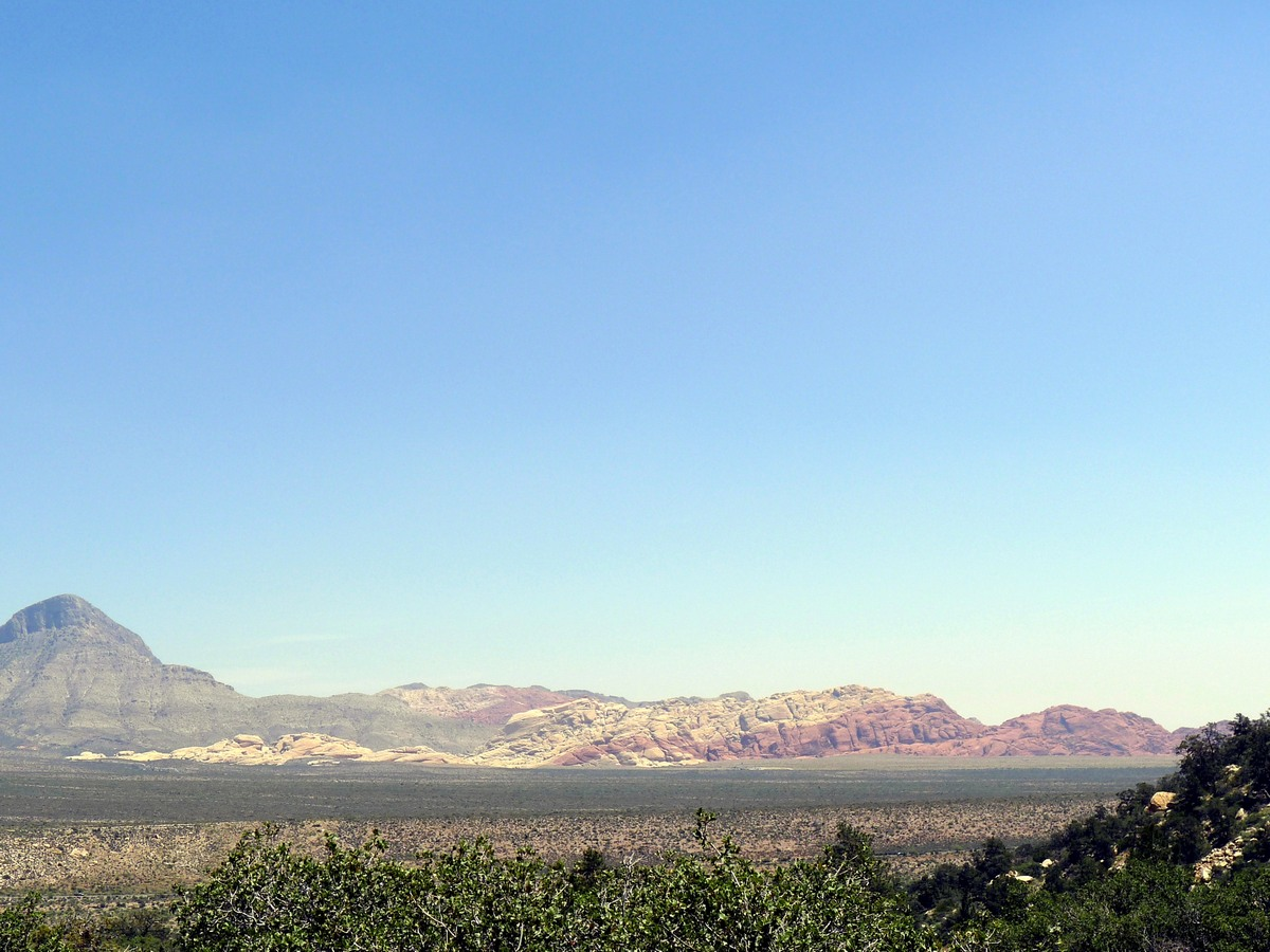 Looking across the plain towards Calico Hills from the Icebox Canyon Hike near Las Vegas