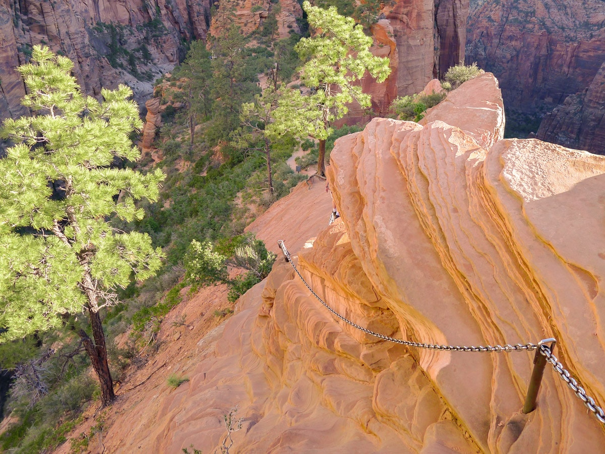 Chains on Angel's Landing hike in Zion National Park, Utah