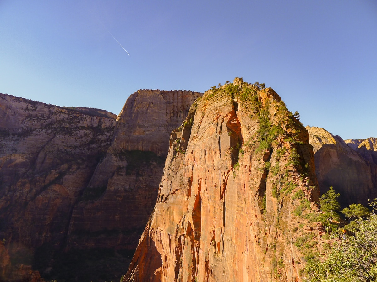 View from Scouts Landing on Angel's Landing hike in Zion National Park, Utah