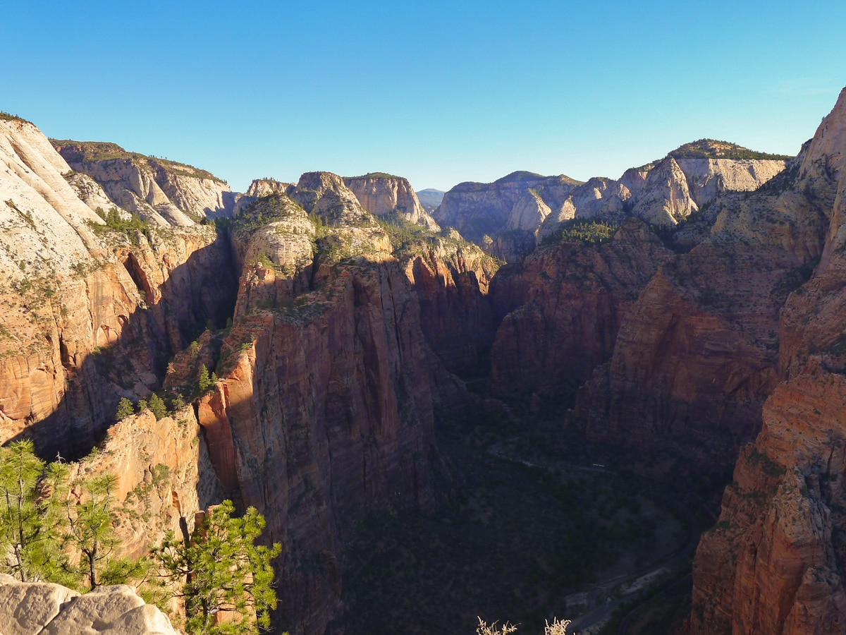 Views of the canyon from Angel's Landing hike in Zion National Park, Utah
