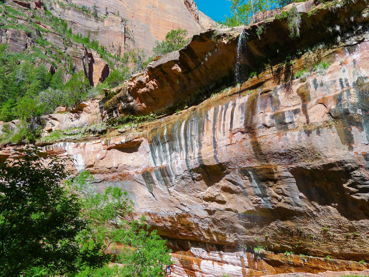 Beautiful waterfall on Emerald Pools hike in Zion National Park