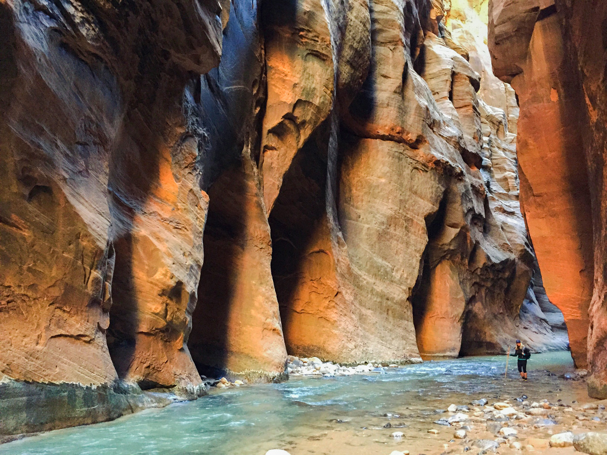 Amazing views on the Narrows hike in Zion National Park, Utah