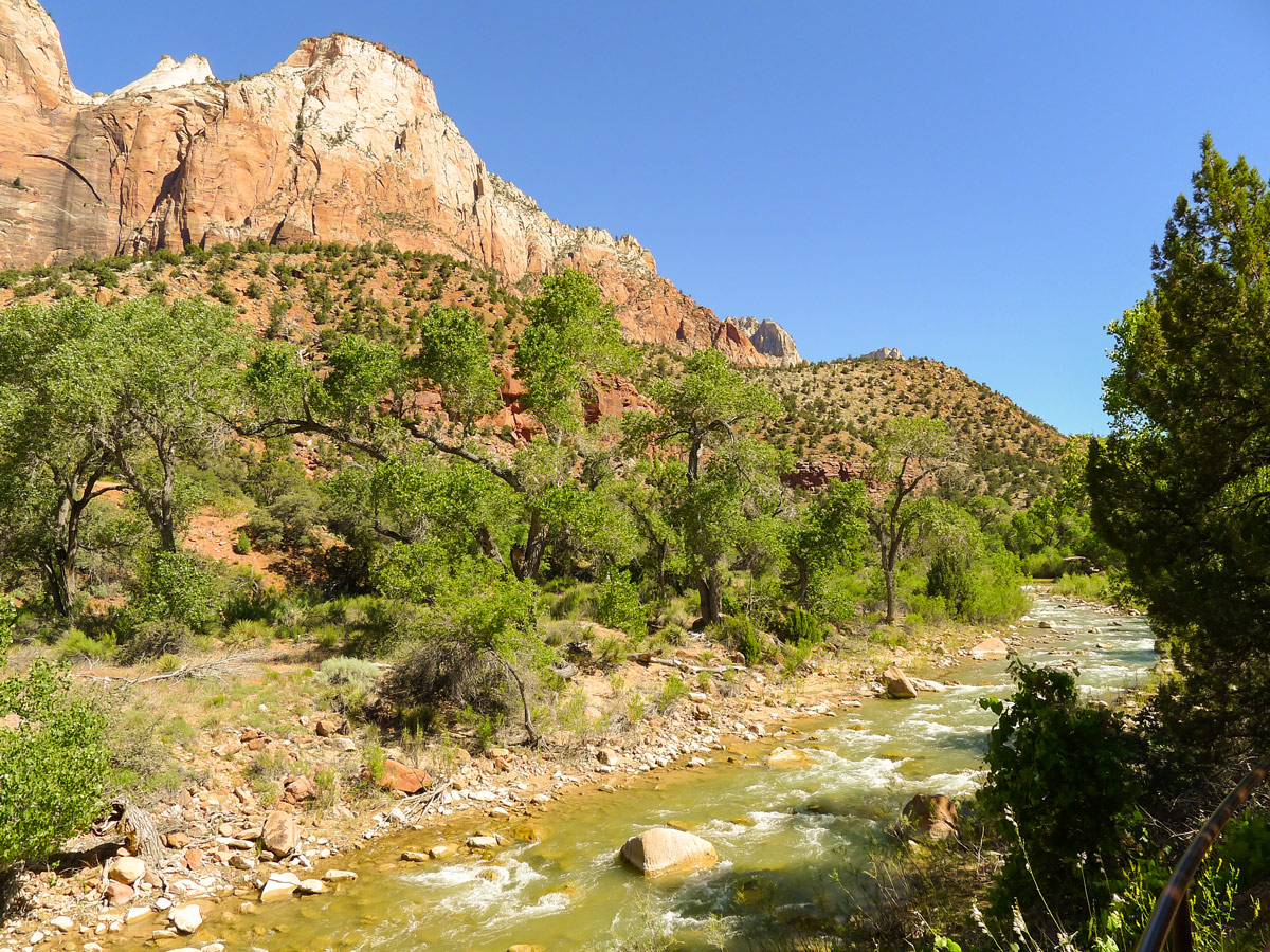 View along river on Pa'rus River Trail hike in Zion National Park