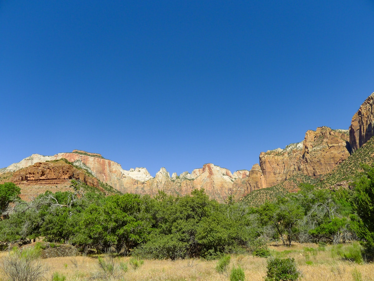 Court of the Patriarchs on Pa'rus River Trail hike in Zion National Park, Utah