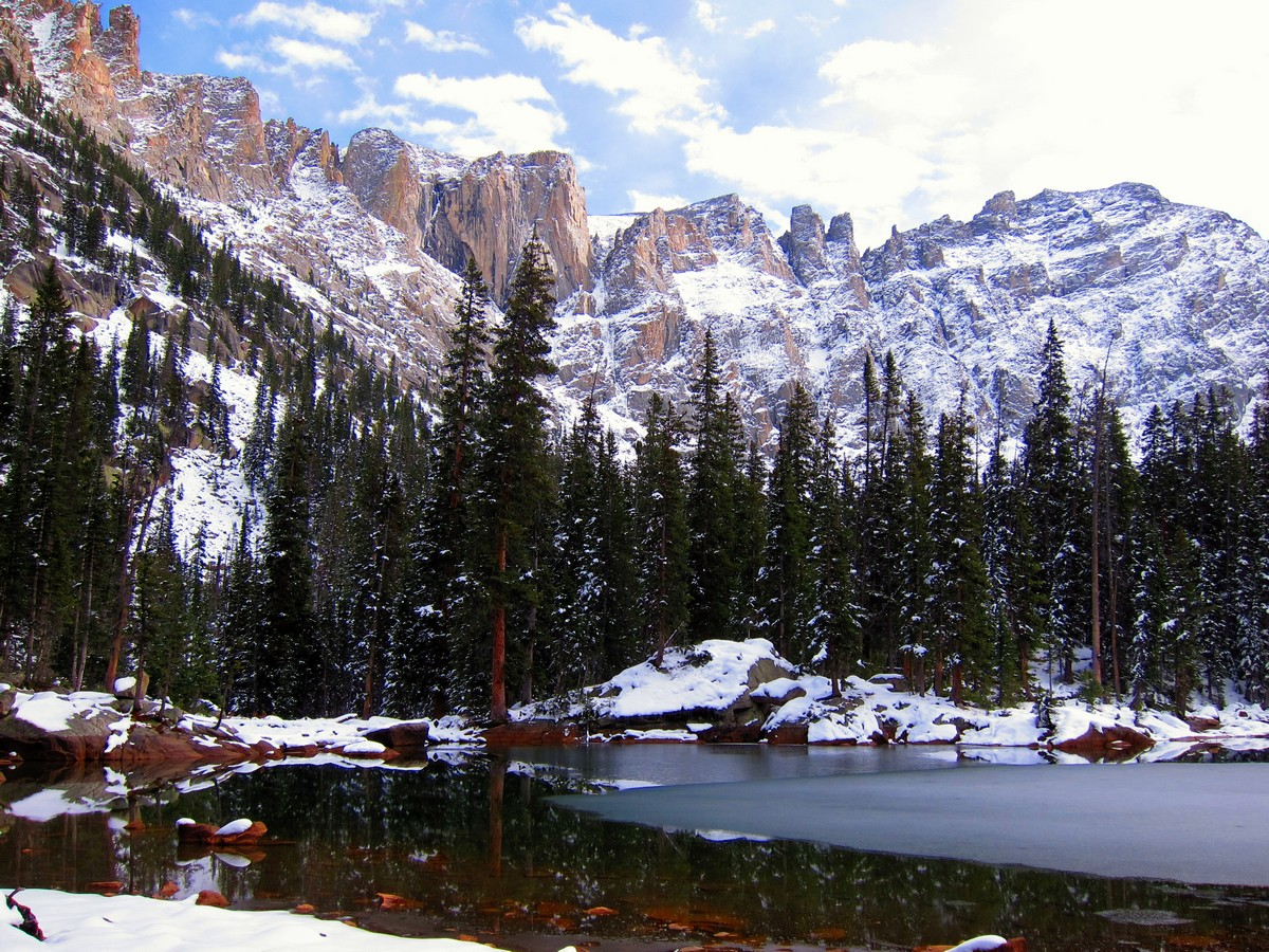 Mountain cirque reflecting in the lake on Lone Eagle Peak Hike in Indian Peaks, Colorado