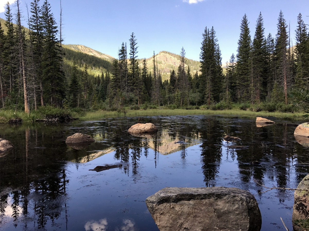 Reflections on the lake on Lost Lake Hike in Indian Peaks, Colorado
