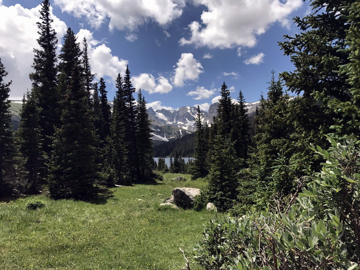Mountain view from the Long Lake Trail Hike in Indian Peaks, Colorado