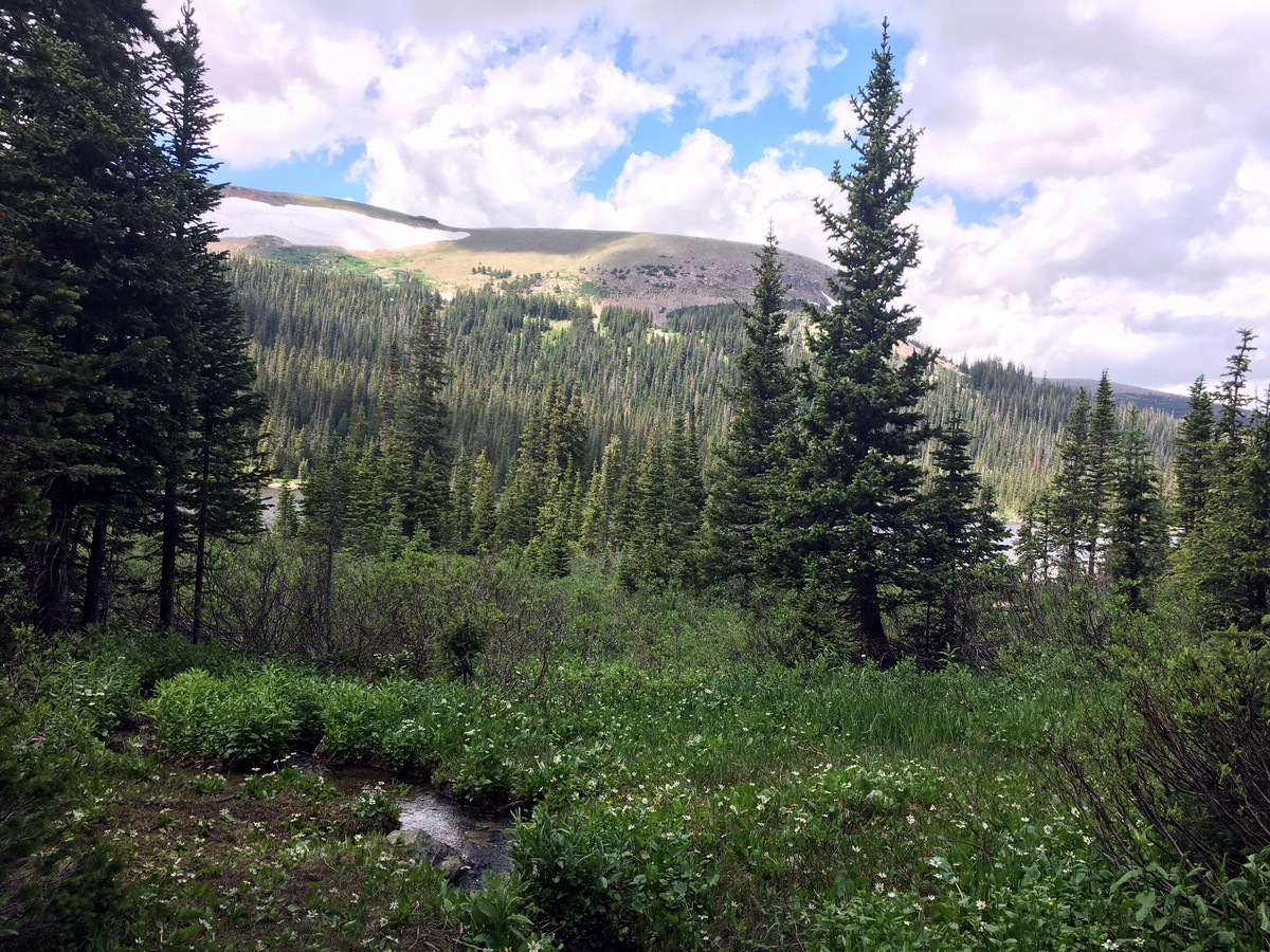Mountain views of the Long Lake Trail Hike in Indian Peaks, Colorado