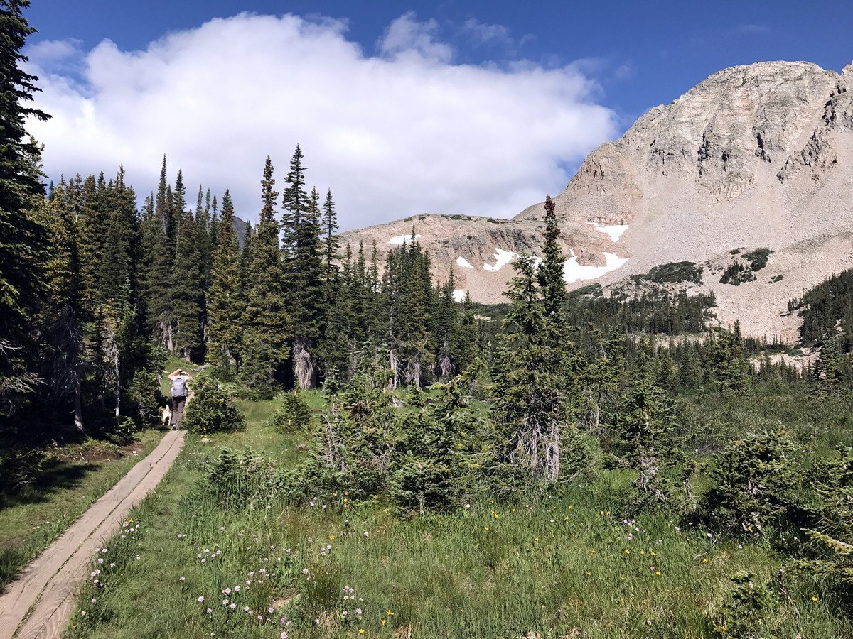 Panorama of the Blue Lake Trail Hike in Indian Peaks