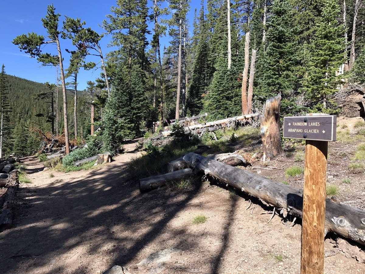 Junction on the Rainbow Lake Trail Hike in Indian Peaks, Colorado