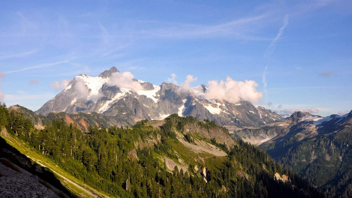 Mount Shuksan can be seen from Chain Lakes trail near Mount Baker