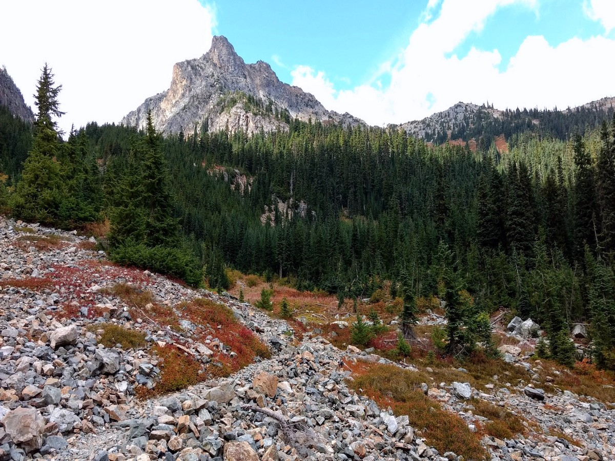 New Morning Peak over Talus and trees on the Easy Pass Hike in North Cascades, Washington
