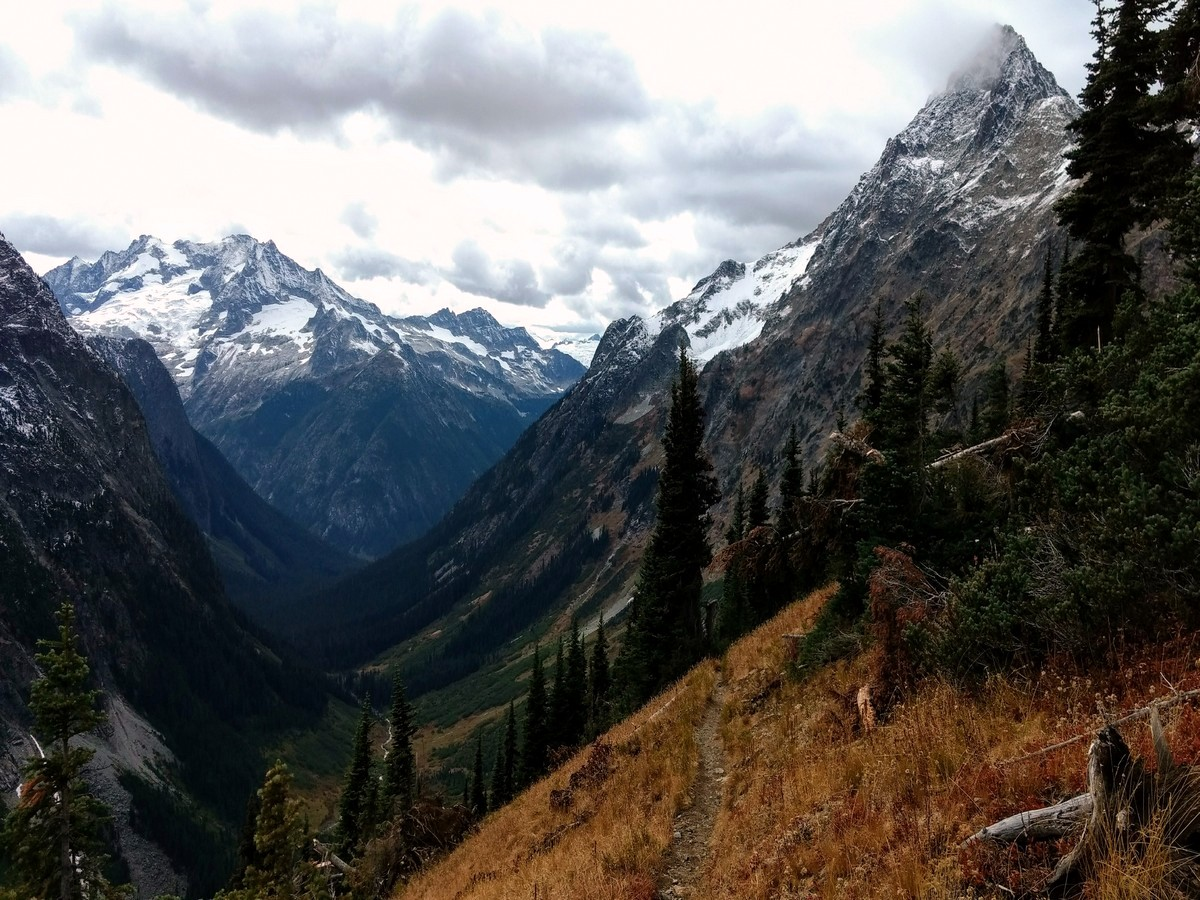 Views west to Mount Logan from the Easy Pass Hike in North Cascades, Washington
