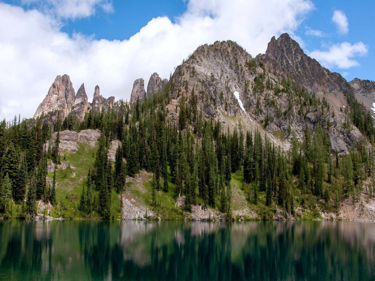 Liberty Bell Mountain Group can be seen from Blue Lake Trail in North Cascades