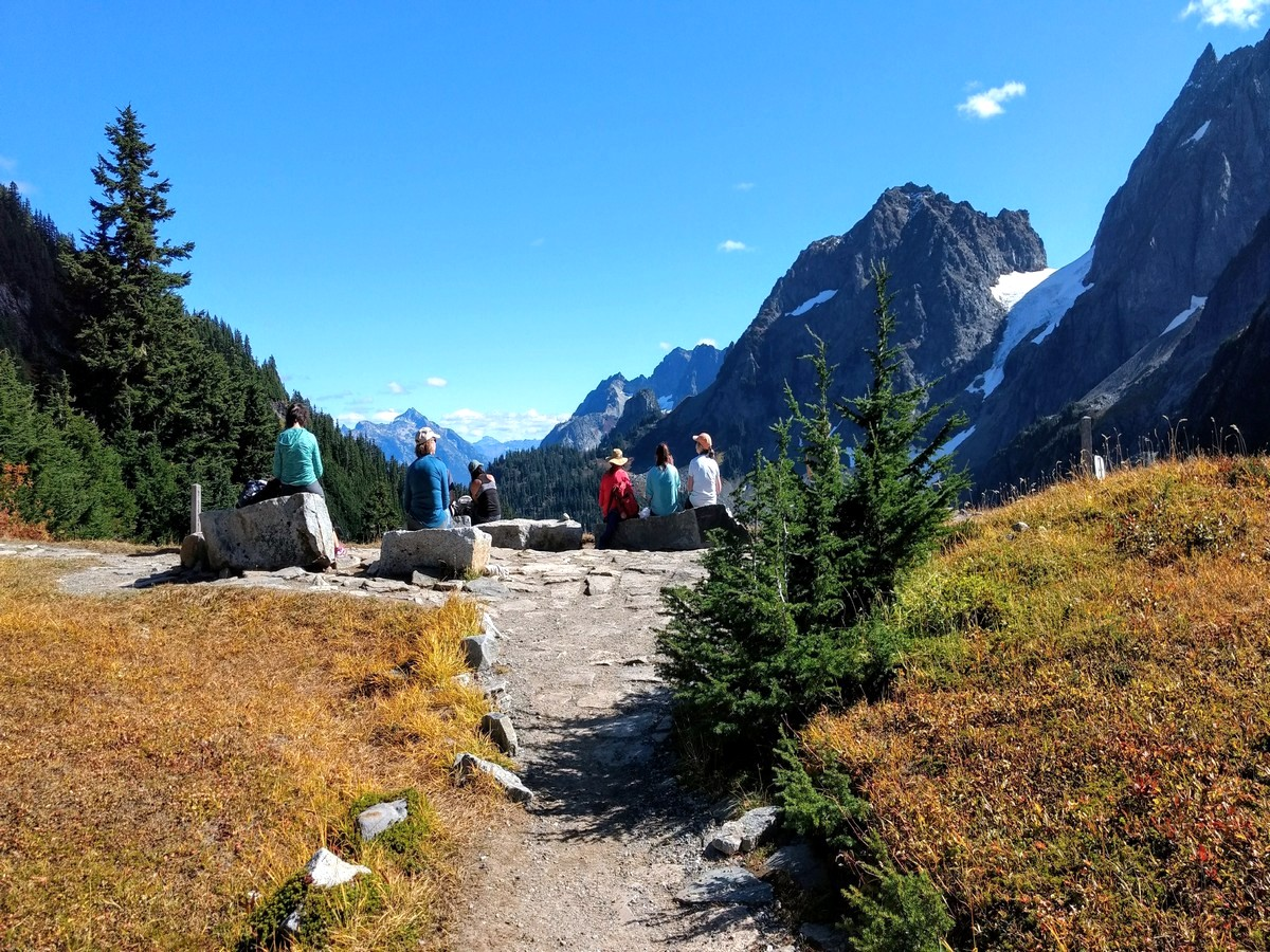 Reaching the pass on the Cascade Pass Hike in North Cascades, Washington