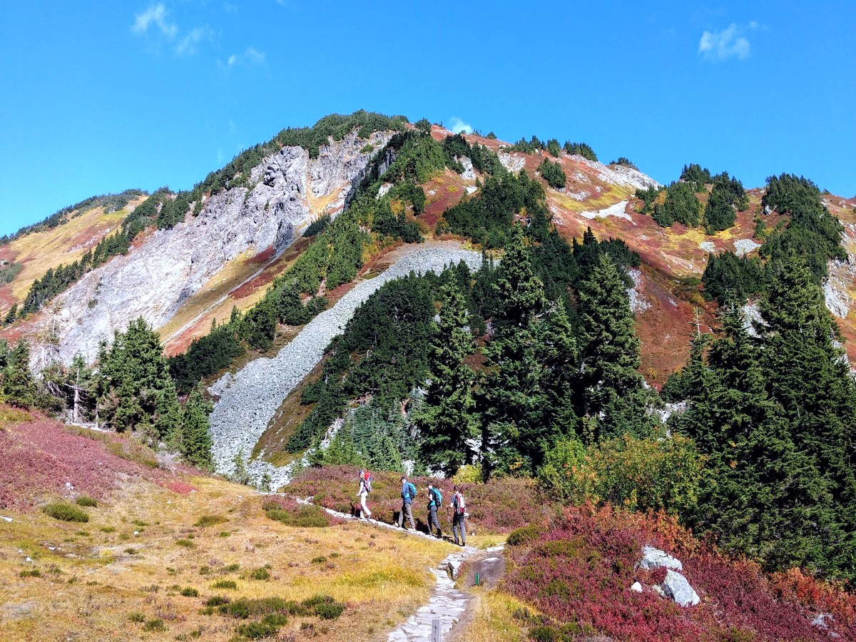 Hikers on the Cascade Pass Hike in North Cascades, Washington