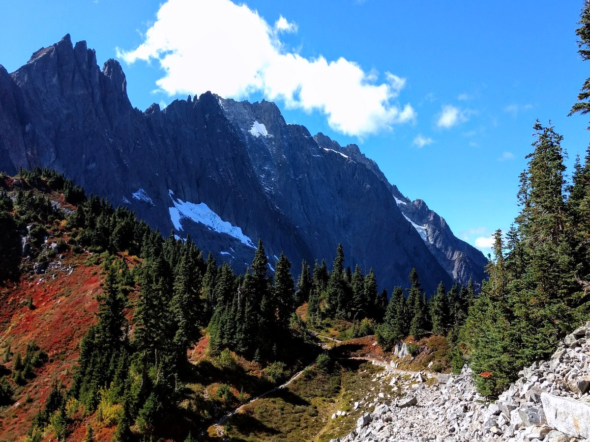 Fall colors at the Cascade Pass trail in North Cascades, Washington