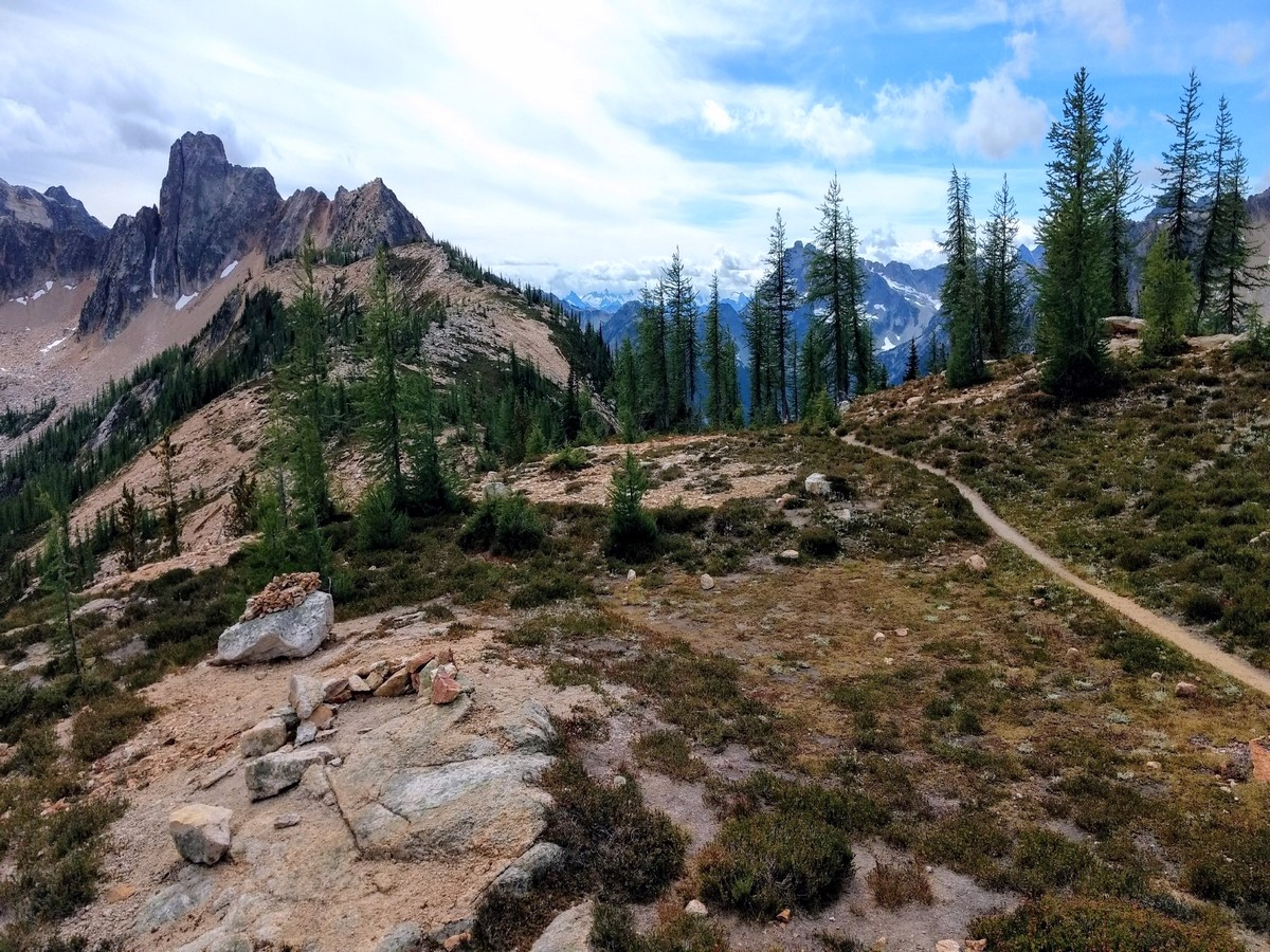 The trail of the Cutthroat Pass Hike in North Cascades National Park, Washington
