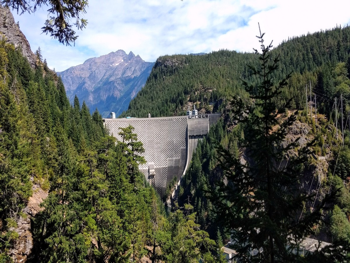 Ross Dam can be seen from Diablo Lake Trail in North Cascades