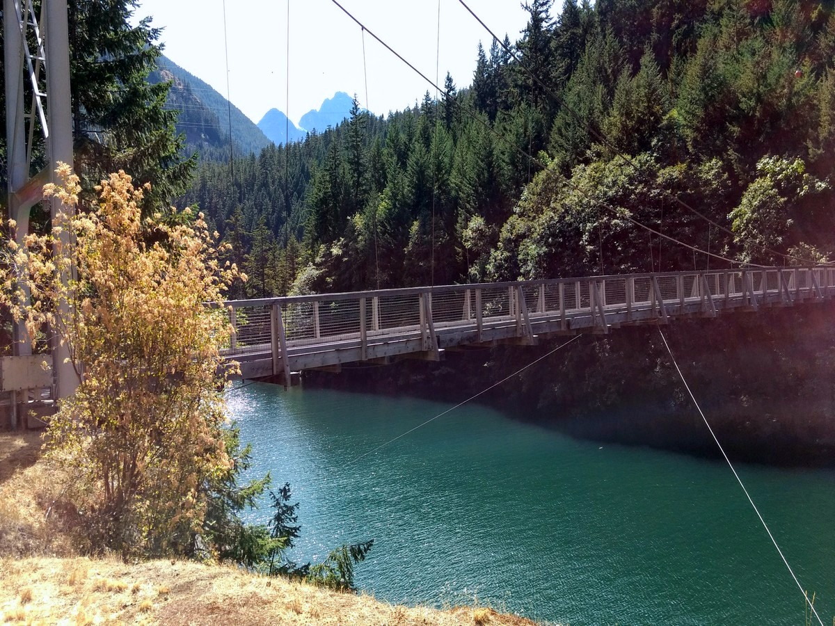 Suspension bridge on the Diablo Lake Trail Hike in North Cascades National Park, Washington