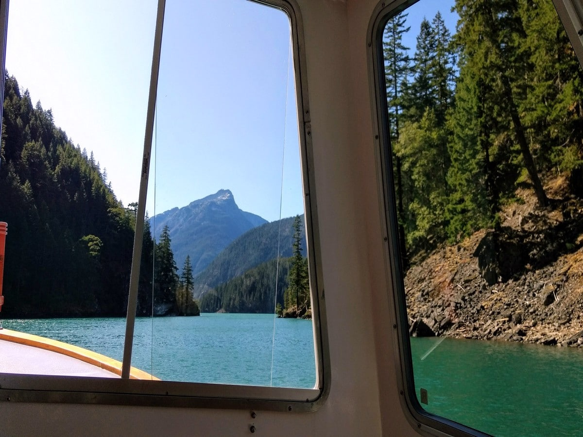 Riding the boat on the Diablo Lake Trail Hike in North Cascades National Park, Washington