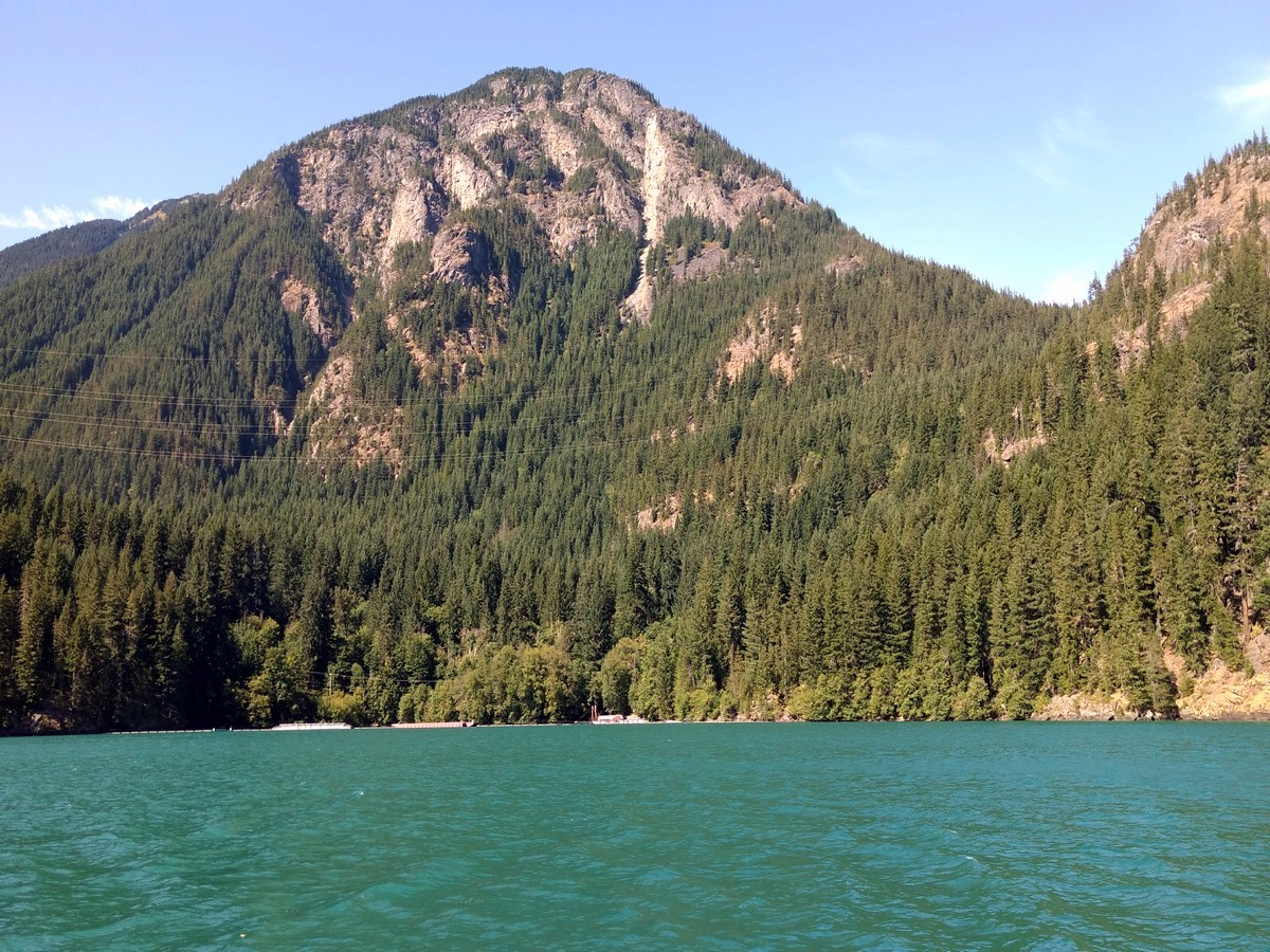 Sourdough Mountain from the boat on the Diablo Lake Trail Hike in North Cascades National Park, Washington