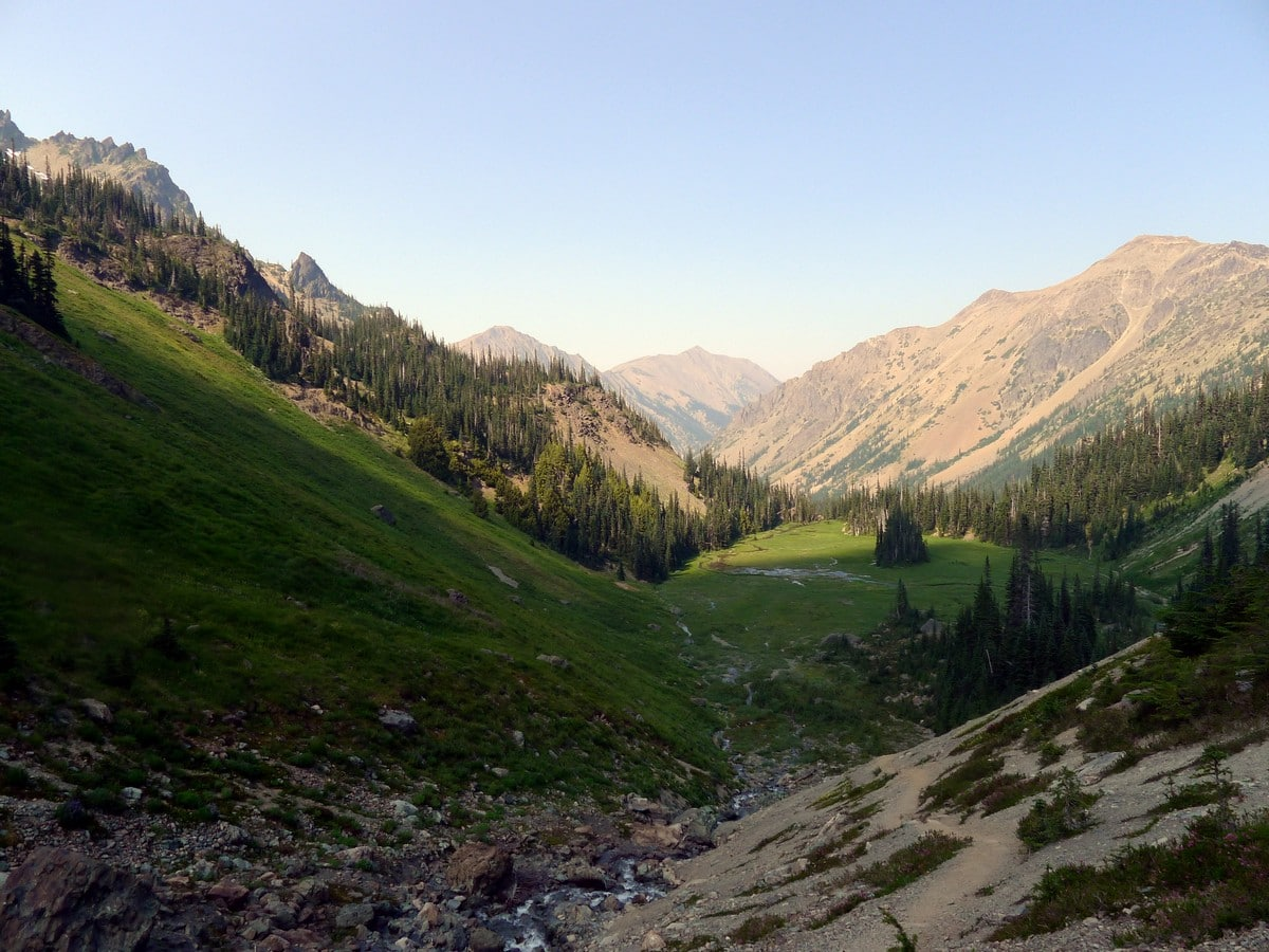 Looking back on the Royal Basin hike in Olympic National Park