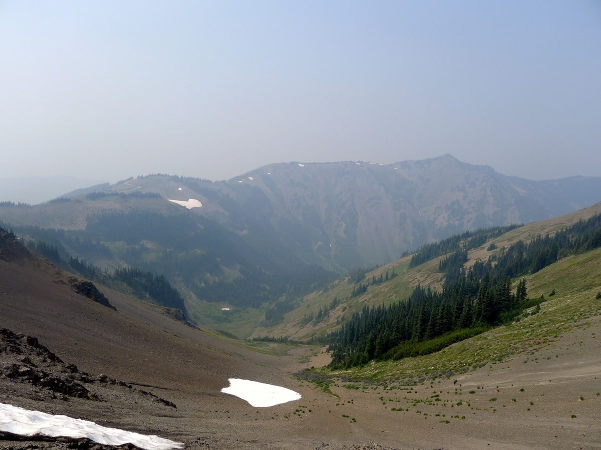 A hazy view of the Obstruction Point Hike in Olympic National Park, Washington